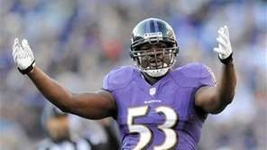 Baltimore Ravens inside linebacker Jameel McClain reacts to