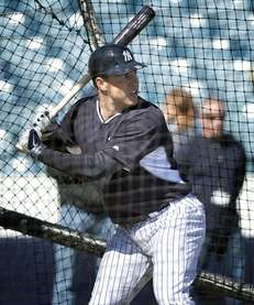 Mark Teixeira takes batting practice at Steinbrenner Field