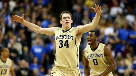 Wake Forest's Tyler Cavanaugh reacts after hitting a