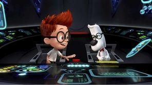 Sherman (Max Charles) asks a skeptical Mr. Peabody