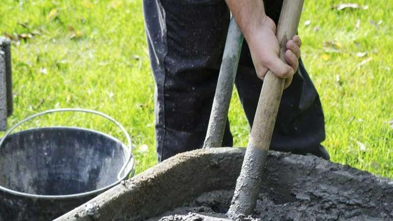 Don't overfill wheelbarrels, as cement is very heavy.