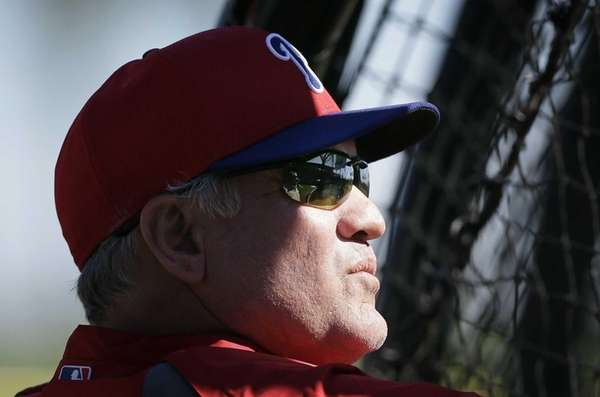 Philadelphia Phillies manager Ryne Sandberg watches his team