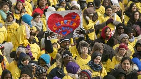 Several thousand charter school supporters gathered near the