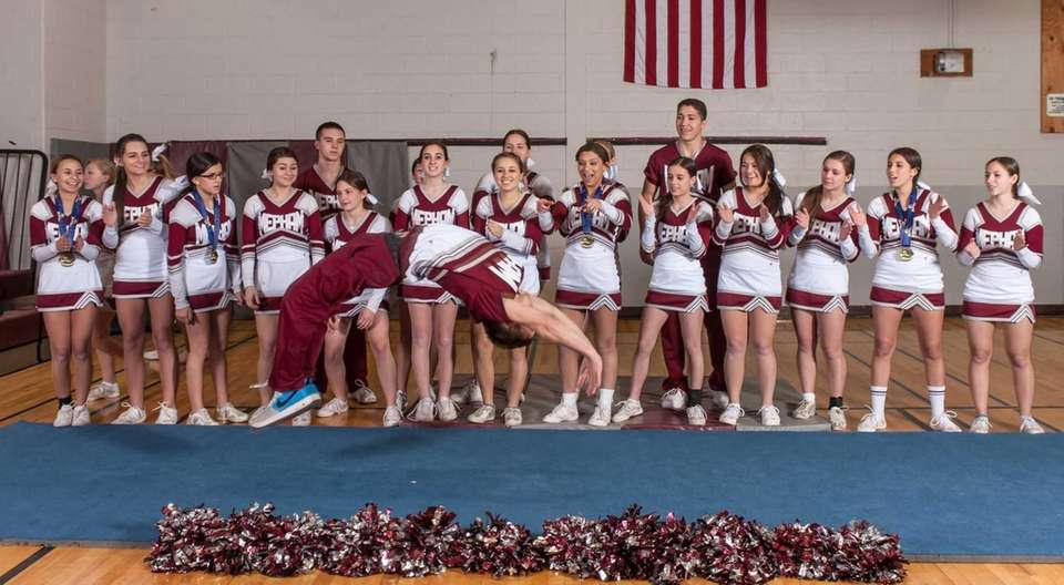 Mepham's co-ed cheerleading team poses for a photo