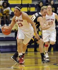 Stony Brook's Sabre Proctor moves the ball against
