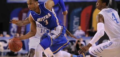 Hofstra's Zeke Upshaw runs the ball against Delaware