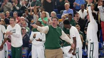 Holy Trinity head coach Joe Conefry reacts in