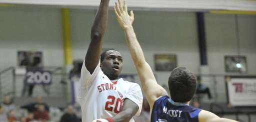 Stony Brook's Jameel Warney puts up a shot
