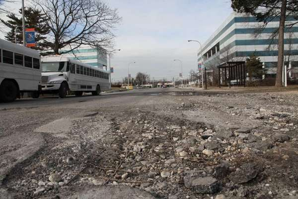 A pothole remains open on Selfridge Avenue on
