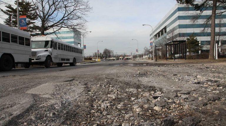 A pothole remains open on Selfridge Avenue on