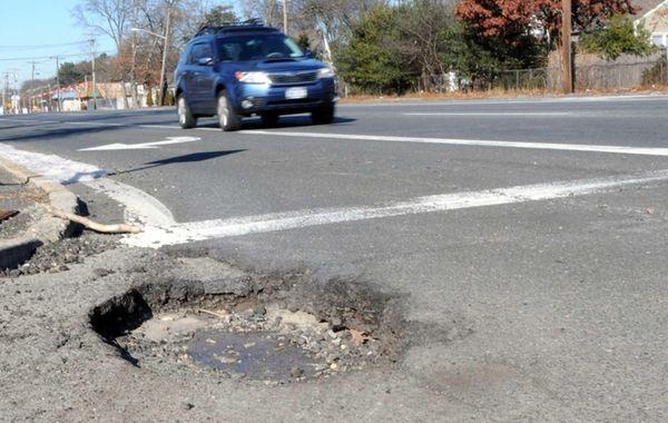 A large pothole on Waverly Avenue on Wednesday,