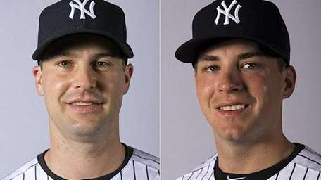 Yankees pitchers Matt Daley, left, and Danny Burawa