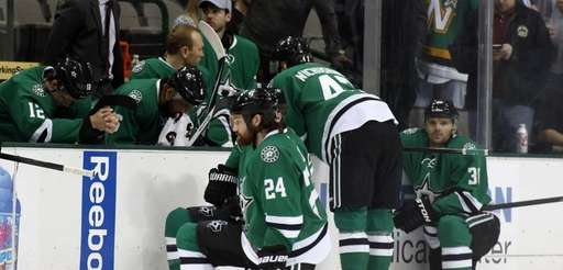 Dallas Stars right wing Alex Chiasson (12) bows