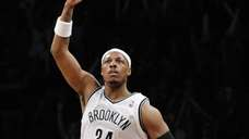 Paul Pierce reacts after sinking a three-pointer in