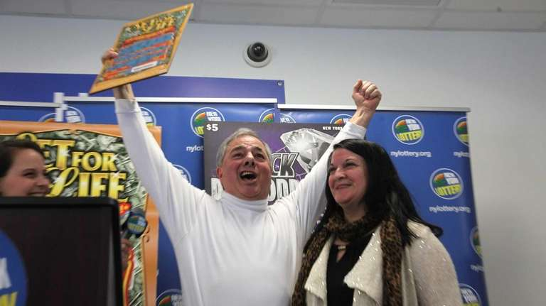 Thomas Mainella and his fiancee, Donna, celebrate on
