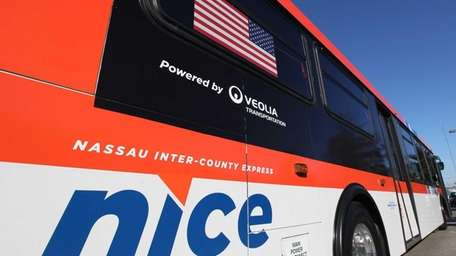 A new Nassau Inter-County Express (NICE) bus is