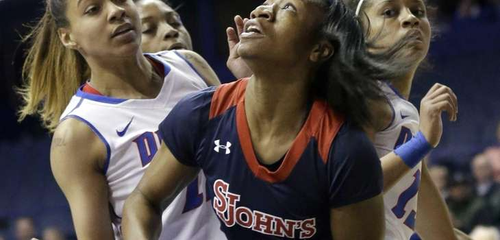 St. John's guard Aliyyah Handford looks up the