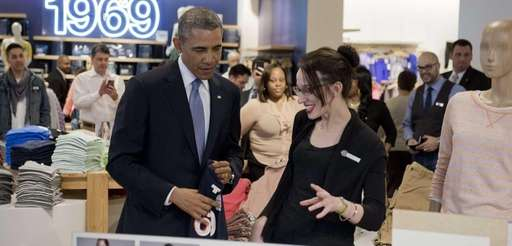 President Barack Obama shops for clothing for his