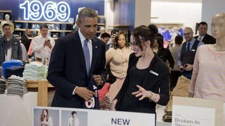 President Barack Obama shops for clothing for his