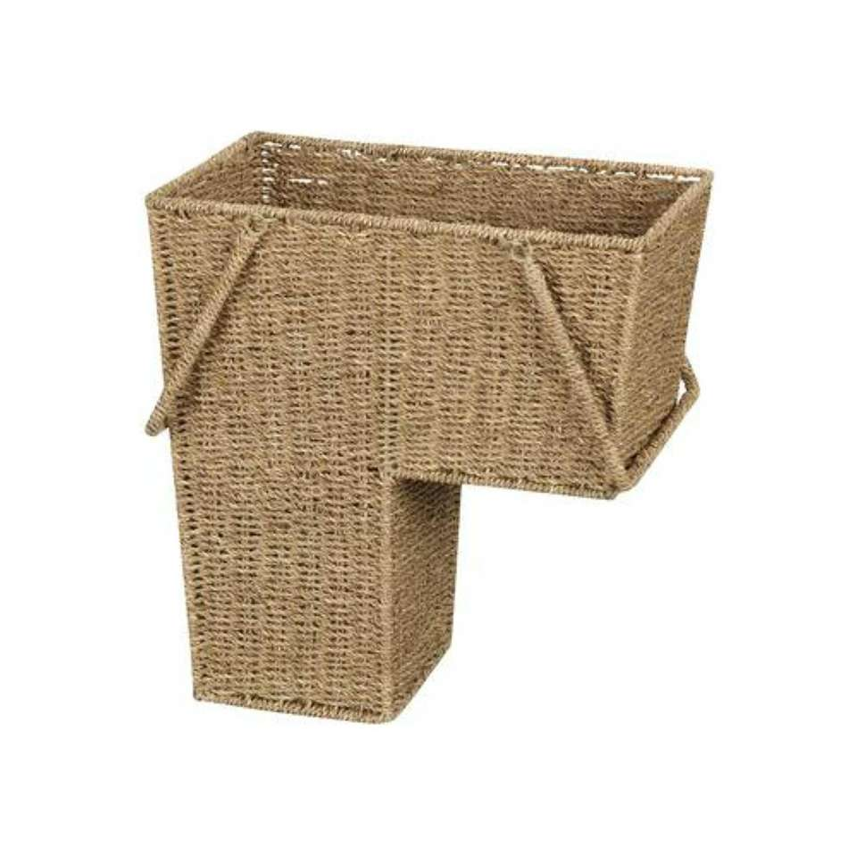 The sea grass wicker stair basket is designed