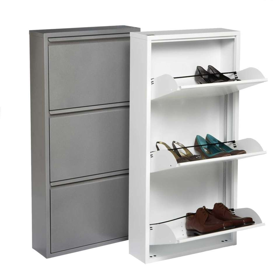 The 3-Drawer Shoe Cabinet features drawers that hold