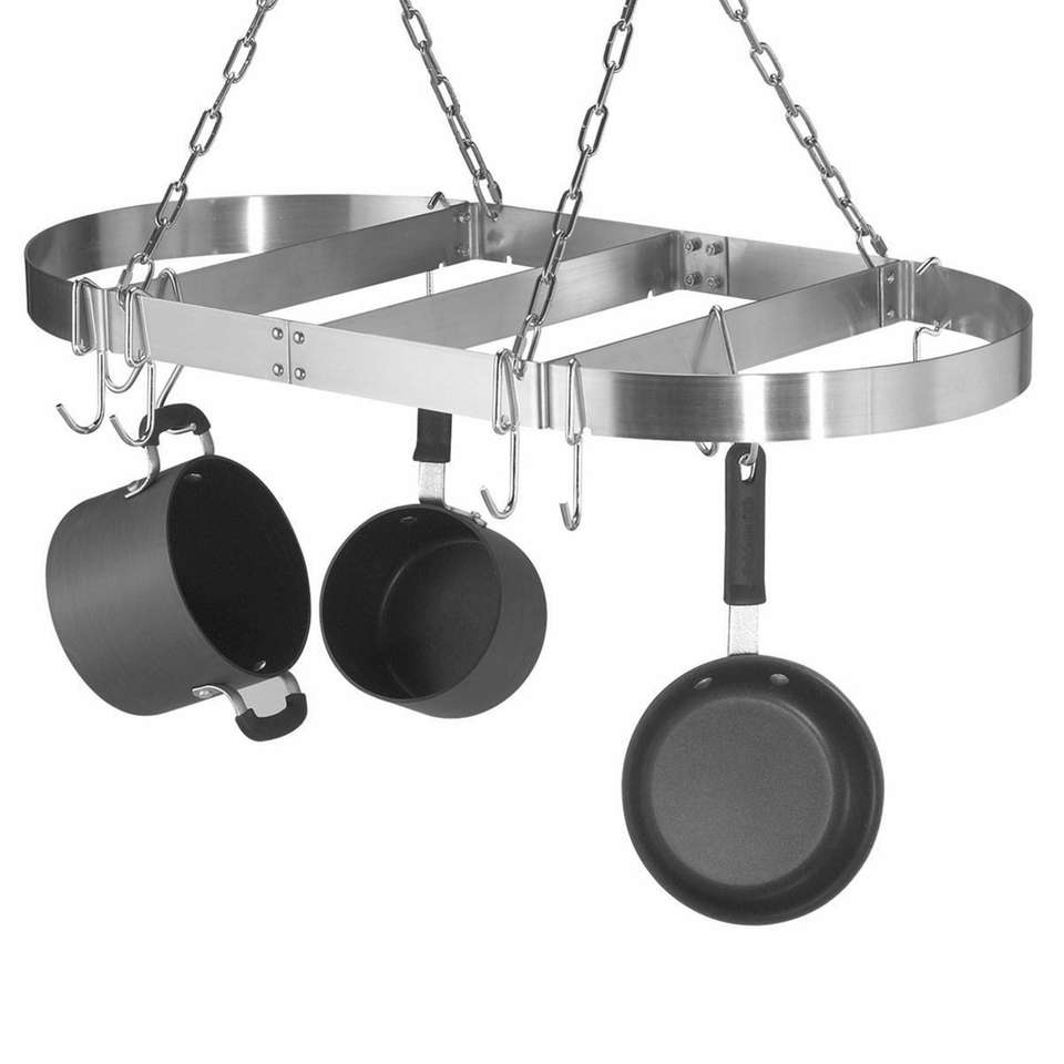 The Calphalon Oval Ceiling Stainless Steel Pot Rack