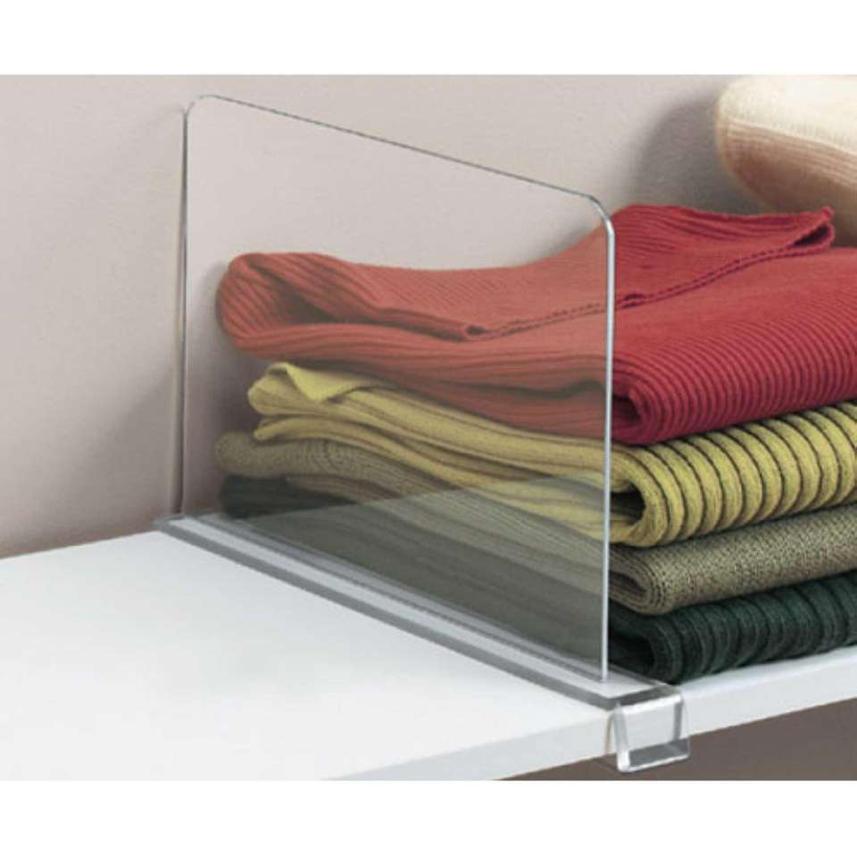 This acrylic shelf divider is designed to be