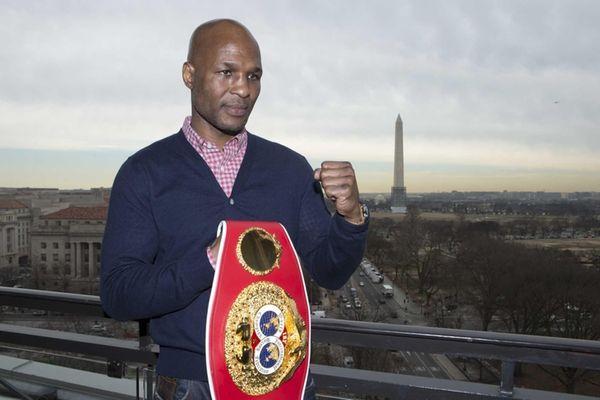 IBF Light Heavyweight World Champion Bernard Hopkins, holds