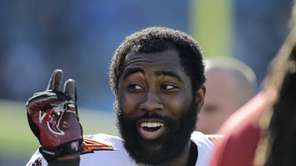 The Tampa Bay Buccaneers' Darrelle Revis clowns around