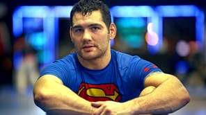 UFC fighter Chris Weidman rests after jiujitsu training