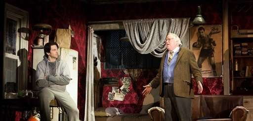 Andy Karl and Dakin Matthews in a scene