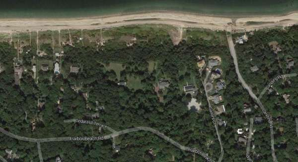 A satellite image shows the Miller Place Beach