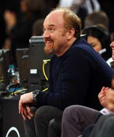 Louis CK attends a game between the Knicks