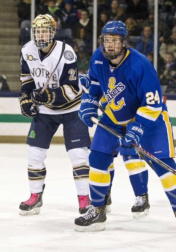 Lake Superior State defenseman Kevin Czuczman (24) and