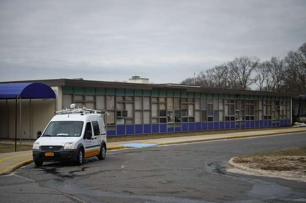A National Grid truck sits outside Parkway Elementary