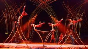 Uneven bars secene from quot;Amaluna,quot; directed by Diane