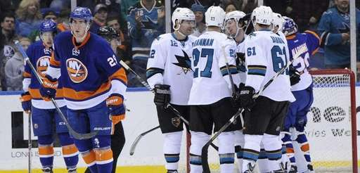 The San Jose Sharks celebrate a goal by