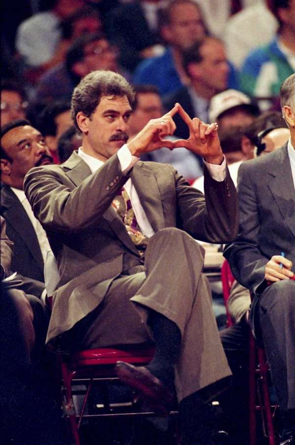Chicago Bulls head coach Phil Jackson directs the