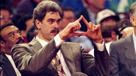 Chicago Bulls head coach Phil Jackson directs the