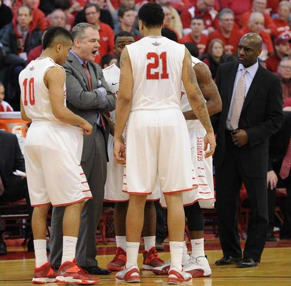 Stony Brook head coach Steve Pikiell directs his