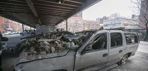 Crushed cars on March 15, 2014, under the