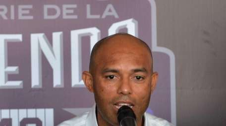 Mariano Rivera speaks during a press conference in
