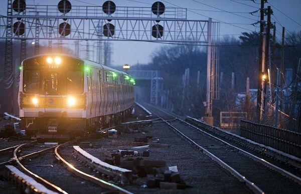 A westbound Long Island Rail Road train entering