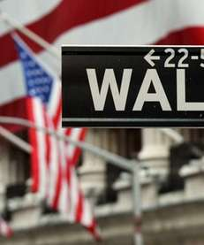 The Wall Street sign near the front of