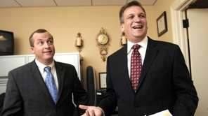 Edward Mangano, right, is shown at his legislative