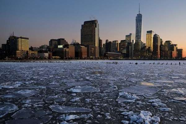 Ice floes fill the Hudson River as the
