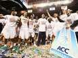 The Virginia Cavaliers celebrate after defeating the Duke