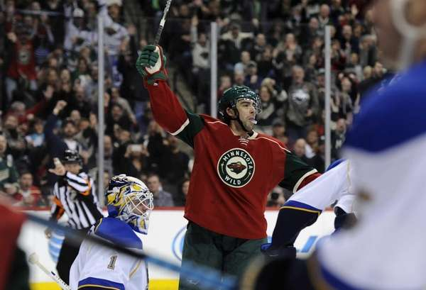 Matt Moulson of the Minnesota Wild celebrates a