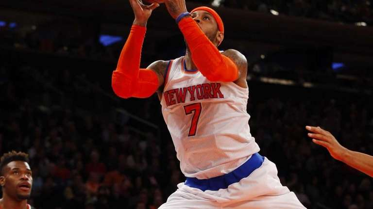 Carmelo Anthony puts up a shot during a