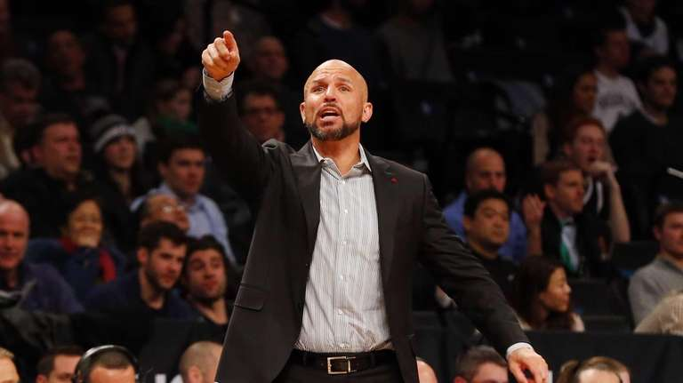 Jason Kidd of the Nets reacts during a